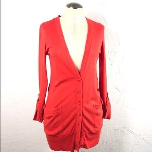 Splendid front pocket button cardigan coral small